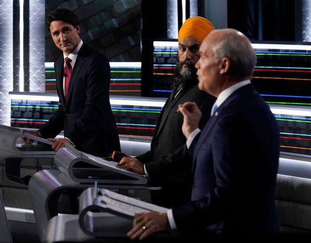 Canadian Prime Minister and Liberal Leader Justin Trudeau (L), NDP Leader Jagmeet Singh (C) and Conservative Leader Erin O'Toole (R) participate in the federal election English-language Leaders debate in Gatineau, Quebec, Canada on September 9, 2021. (Photo by Adrian Wyld / POOL / AFP) (Photo by ADRIAN WYLD/POOL/AFP via Getty Images) (Photo: ADRIAN WYLD via Getty Images)