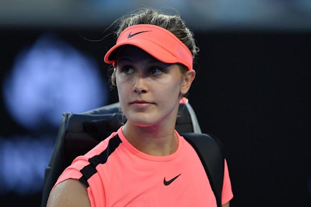 "Canada's Eugenie Bouchard, seen here during the Australian Open tennis tournament in Melbourne in January, 2018, suffered a locker room fall at the 2015 US Open for which the US Tennis Association has been found ""mostly liable"" (AFP Photo/Paul Crock)"