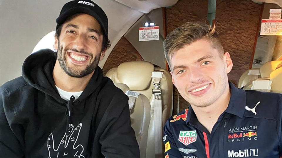 Daniel Ricciardo and Max Verstappen, pictured here after the Hungarian Grand Prix.