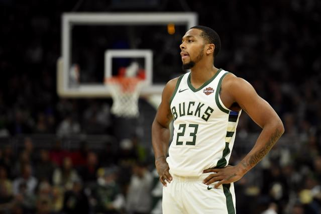"<a class=""link rapid-noclick-resp"" href=""/nba/players/5859/"" data-ylk=""slk:Sterling Brown"">Sterling Brown</a> filed a federal civil rights lawsuit last year that the city of Milwaukee is trying to settle. (Photo by Quinn Harris/Getty Images)"