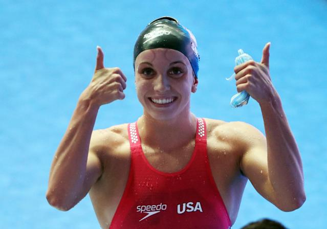 Regan Smith of the U.S. reacts after winning the women's 200m backstroke final at the 18th FINA world swimming championships in South Korea in July. (Reuters)