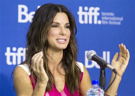 "Actress Sandra Bullock attends a news conference for the film ""Gravity"" at the 38th Toronto International Film Festival"