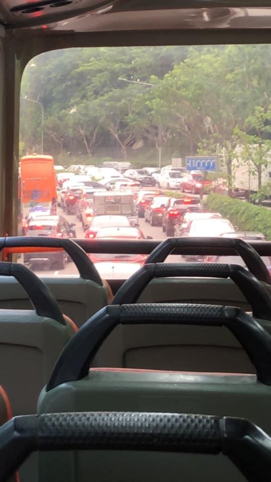 Traffic jam seen from a double-decker bus. Photo: Kevin Tan/Facebook