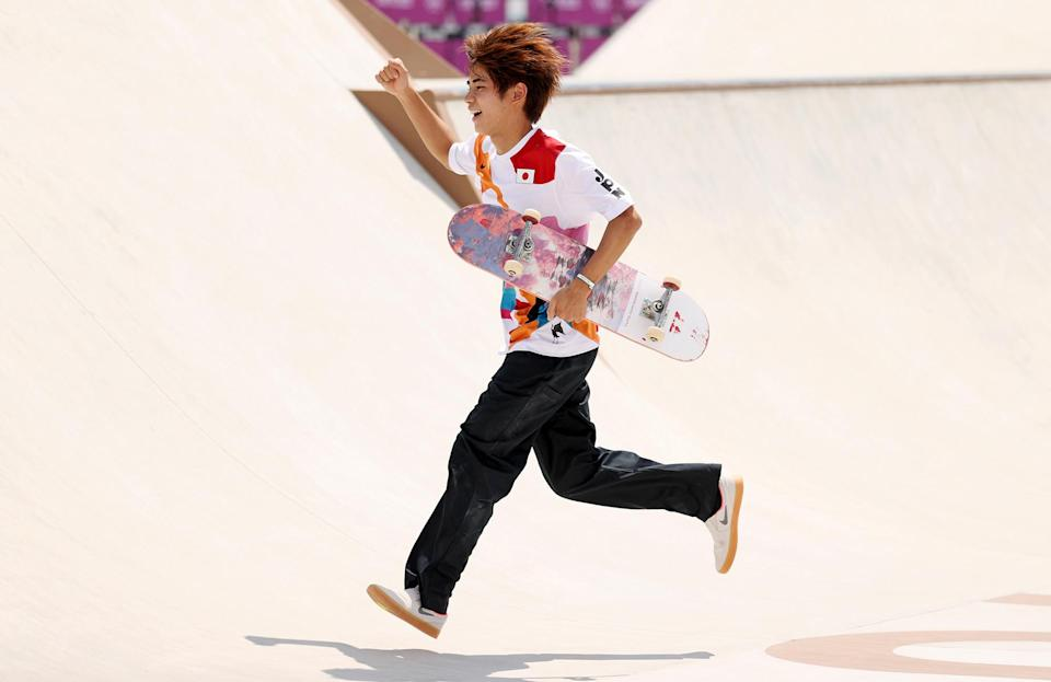 <p>Japan's Yuto Horigome brings home gold for the home team at the Skateboarding Men's Street Finals at Ariake Urban Sports Park on July 25.</p>