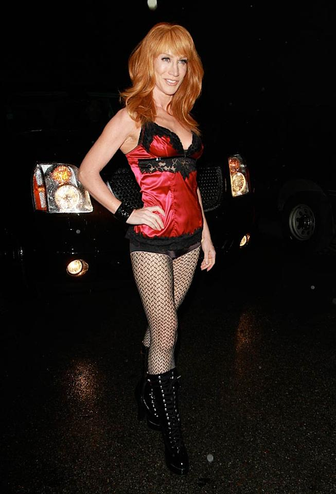 "Funny lady Kathy Griffin scored an invite to the shindig, where she flaunted her fit bod in a lingerie-inspired number and fishnets. Is the 50-year-old auditioning for a spot in the Pussycat Dolls? <a href=""http://www.infdaily.com"" target=""new"">INFDaily.com</a> - February 15, 2011"