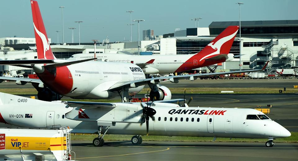 Stock image of Qantas planes at the domestic terminal in Sydney. Source: AAP