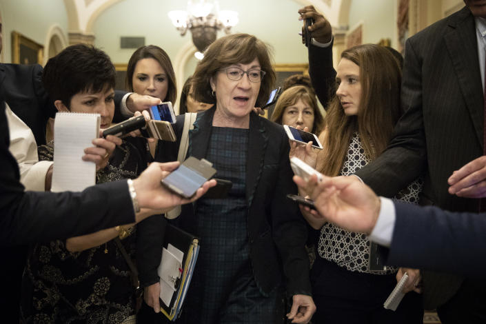 Sen. Susan Collins (R-ME) is surrounded by reporters following a closed-door meeting of Senate Republicans on Capitol Hill, September 26, 2018 in Washington, DC. (Drew Angerer/Getty Images)