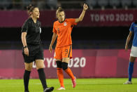 Netherlands' Vivianne Miedema celebrates after scoring a goal against Brazil during a women's soccer match at the 2020 Summer Olympics, Saturday, July 24, 2021, in Miyagi, Japan. (AP Photo/Andre Penner)