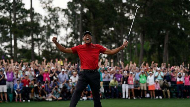 PHOTO: Tiger Woods reacts as he wins the Masters golf tournament, April 14, 2019, in Augusta, Ga. (David J. Phillip/AP)
