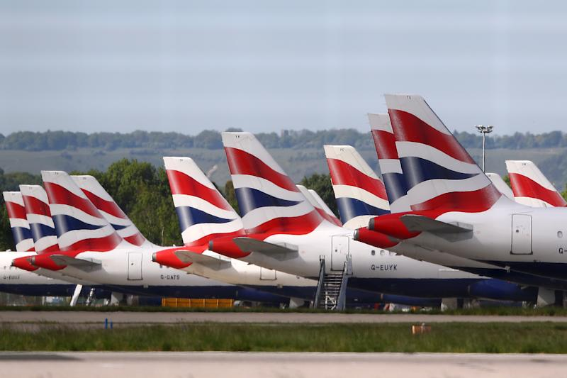 British Airways planes parked up in Gatwick after being grounded due to the coronavirus outbreak. Photo by Bryn Lennon/Getty Images