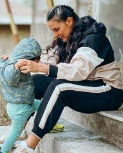 Neha Dhupia with her daughter