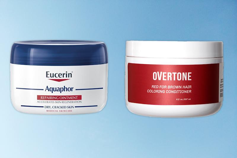From left: Aquaphor Repairing Ointment ($7, Shop Now); Overtone Red for Brown Hair Coloring Conditioner ($29, Shop Now)