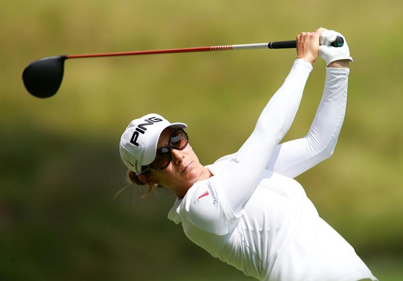 Azahara Munoz of Spain hits her tee shot on the 10th hole during the first round of the LPGA Canadian Pacific Women's Open on August 21, 2014 in London, Ontario (AFP Photo/Dave Sandford)