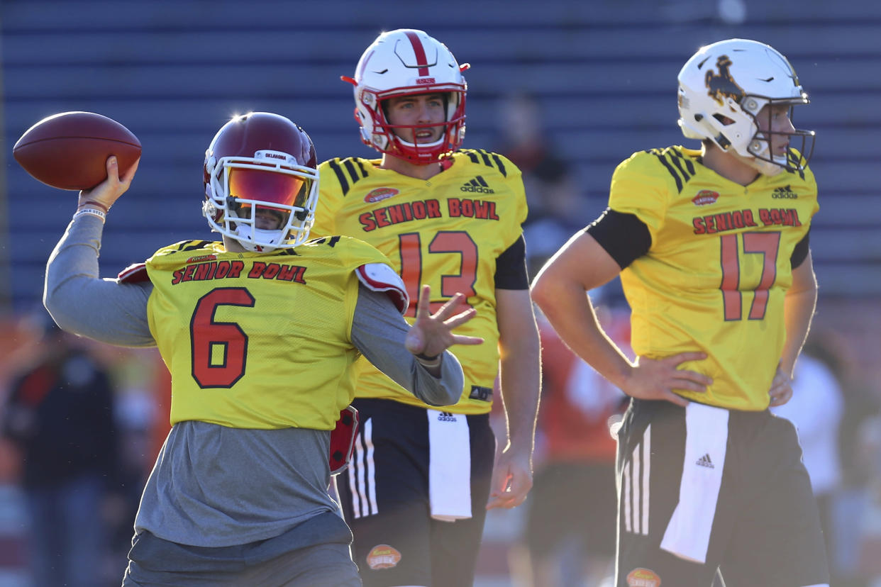Decision time: The Cleveland Browns will reportedly likely choose Bake Mayfield, left, or Josh Allen, far right, with the No. 1 pick in this year's draft. (AP)