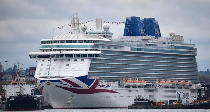 Southampton, United Kingdom - April 29 2018:   The P&O Luxury cruise liner Brittannia in dock in Southampton