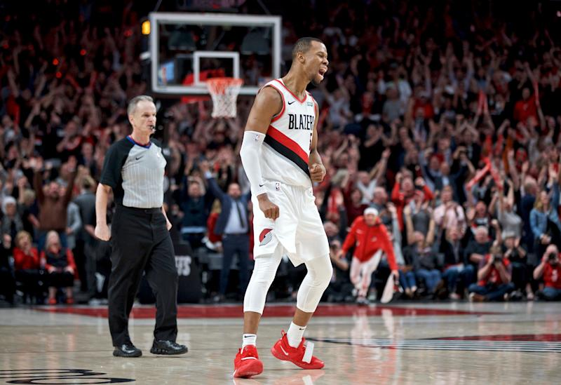 Portland Trail Blazers guard Rodney Hood reacts after making a three point basket against the Denver Nuggets during the fourth overtime of Game 3 of an NBA basketball second-round playoff series Friday, May 3, 2019, in Portland, Ore. (AP Photo/Craig Mitchelldyer)