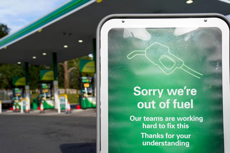 A sign outside a BP petrol station in Birmingham informing people that there is no fuel. Picture date: Tuesday September 28, 2021. (Photo by Jacob King/PA Images via Getty Images)