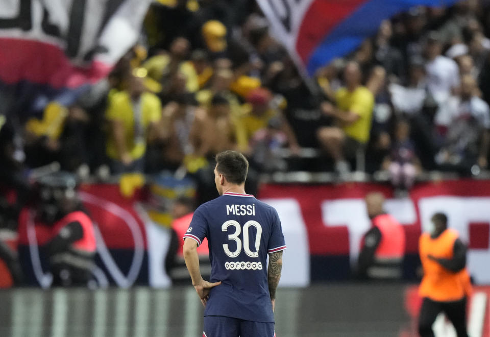 PSG's Lionel Messi during the France League One soccer match between Reims and Paris Saint-Germain, at the Stade Auguste-Delaune in Reims, France, Sunday, Aug. 29, 2021. (AP Photo/Francois Mori)