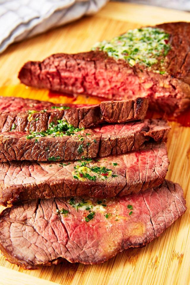 """<p>This old-school cooking technique is our new favorite. </p><p>Get the recipe from <a href=""""https://www.delish.com/cooking/recipe-ideas/a25621332/london-broil-recipe/"""" rel=""""nofollow noopener"""" target=""""_blank"""" data-ylk=""""slk:Delish"""" class=""""link rapid-noclick-resp"""">Delish</a>. </p>"""