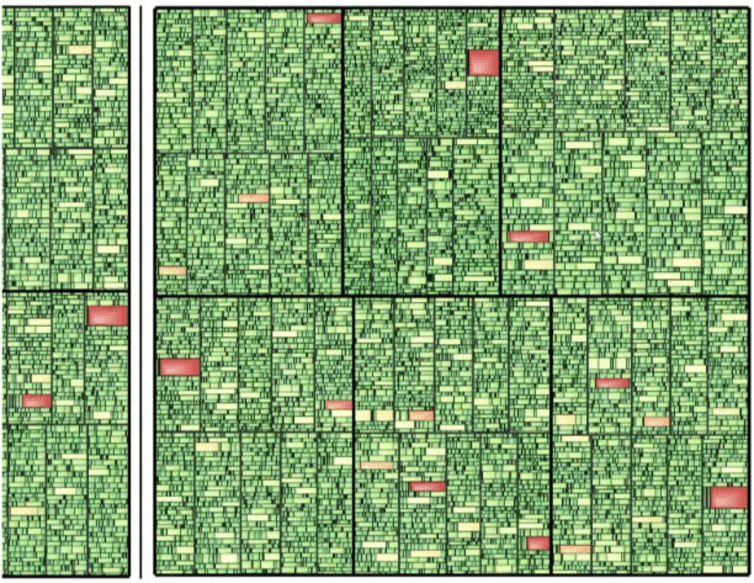 """<span class=""""caption"""">Sample image generated using the software. Red spots indicate problematic areas that users can zoom in to inspect.</span>"""