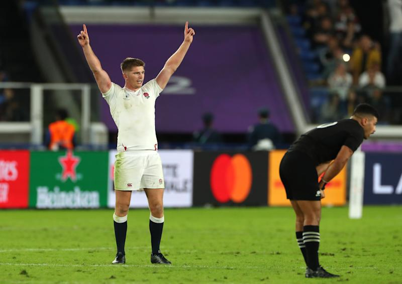 YOKOHAMA, JAPAN - OCTOBER 26: Owen Farrell of England celebrates after scoring a try after winning the Rugby World Cup 2019 Semi-Final match between England and New Zealand at International Stadium Yokohama on October 26, 2019 in Yokohama, Kanagawa, Japan. (Photo by Stu Forster/Getty Images)