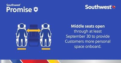 Today, Southwest announced that middle seats will remain open through at least September 30, 2020, to provide Customers more personal space onboard and promote physical-distancing.