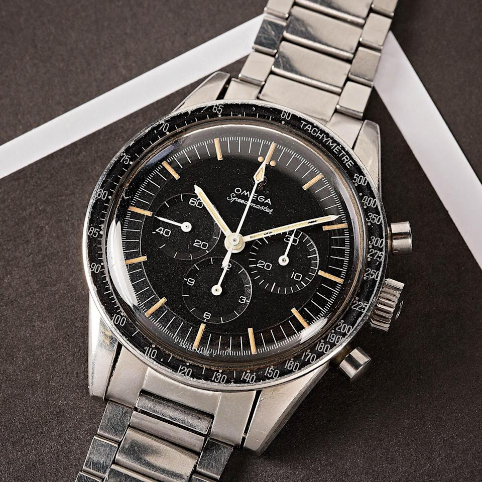"""<p>bobswatches.com</p><p><a href=""""https://www.bobswatches.com/rolex-auctions/vintage-omega-speedmaster-105-005-65-133716"""" rel=""""nofollow noopener"""" target=""""_blank"""" data-ylk=""""slk:SEE PRICE & BID NOW"""" class=""""link rapid-noclick-resp"""">SEE PRICE & BID NOW</a></p>"""