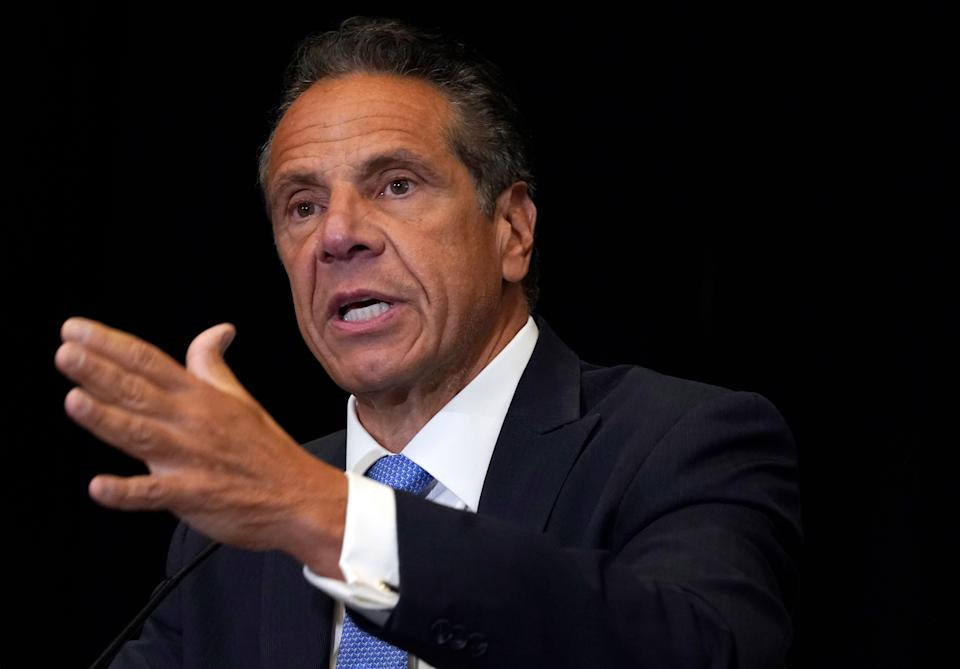 New York Gov. Andrew Cuomo speaks during a news conference at New York's Yankee Stadium, Monday, July 26, 2021. Investigators conducting an inquiry into sexual harassment allegations against Cuomo questioned him for eleven hours when he met with them last month.