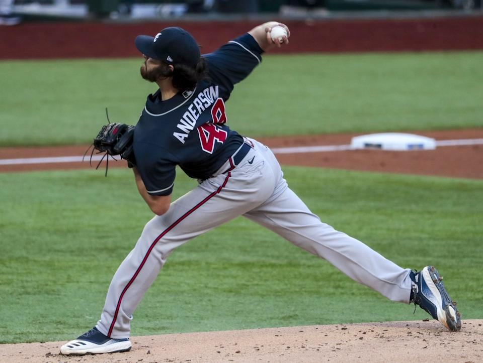 Atlanta Braves starter Ian Anderson delivers against the Dodgers in Game 2 of the NLCS.