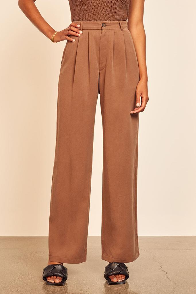 reformation pant, mason pant, pleated slouchy pant