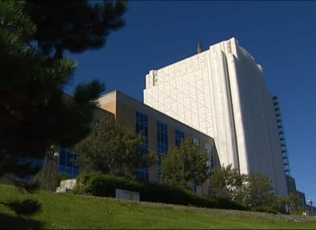 Tarps were used to cover parts of Confederation Building during repairs that stretched to six years, ending in 2015.