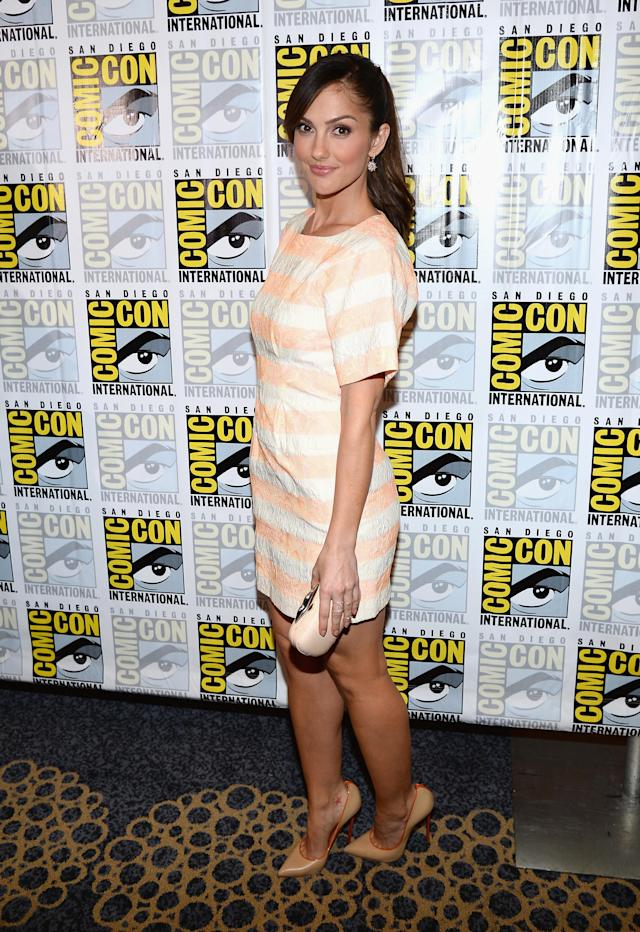 "Minka Kelly attends the ""Almost Human"" Press Room during Comic-Con International 2013 at Hilton San Diego Bayfront Hotel on July 19, 2013 in San Diego, California."