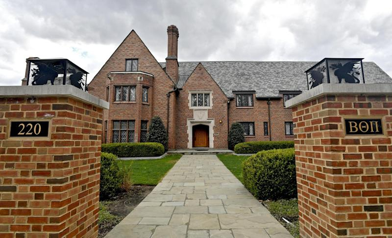Penn State University's former Beta Theta Pi fraternity house on Burrowes Road sits empty after being shut down: Abby Drey /Centre Daily Times via AP