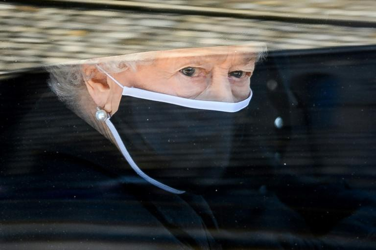 Queen Elizabeth II cut a solitary figure at her husband's funeral on Saturday