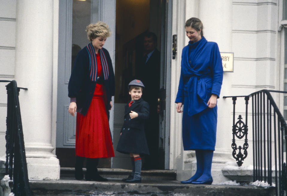 LONDON,  UNITED KINGDOM- JANUARY 15:  Diana, Princess of Wales, takes Prince William to his first day at Wetherby School, welcomed by School Headmistress, Frederika Blair Turner ( right ), on January 15, 1987 in London, United Kingdom. (Photo by Julian Parker/UK Press via Getty Images)