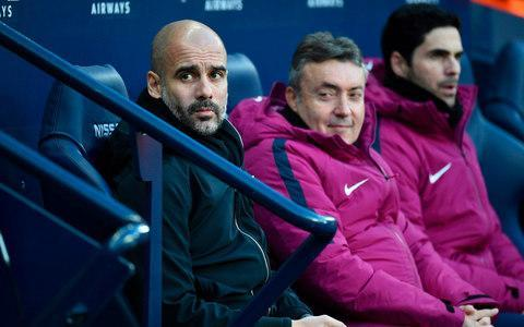 <span>Guardiola on the sidelines at the Etihad</span> <span>Credit: Oli Scarff/AFP </span>
