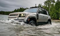 "<p>The all-new second-generation 2020 <a href=""https://www.caranddriver.com/land-rover/defender"" rel=""nofollow noopener"" target=""_blank"" data-ylk=""slk:Land Rover Defender"" class=""link rapid-noclick-resp"">Land Rover Defender</a> is here at last. Much like the Jeep Wrangler, the Defender will be offered as a two-door known as the 90 and a four-door called the 110. For now, only the 110 is available in the United States. The base 110 can be had with either a 296-hp, 2.0-liter turbo four or a 395-hp 3.0-liter inline six. In case of emergency, the Defender has a maximum towing capacity of 8201 pounds. Unlike its namesake, the new Defender is a unibody design with fully independent suspension. In the truck's highest setting, 11.5 inches of ground clearance matching the Sasquatch trim Ford Bronco, and 0.7 inch more than a Jeep Wrangler Rubicon. Like the photo above suggests, Land Rover tells us the 110 can go through <a href=""https://www.caranddriver.com/reviews/a34466199/2020-land-rover-defender-110-se-by-the-numbers/"" rel=""nofollow noopener"" target=""_blank"" data-ylk=""slk:water as high as 35.4 inches"" class=""link rapid-noclick-resp"">water as high as 35.4 inches</a> before you should drop anchor and turn around. </p>"
