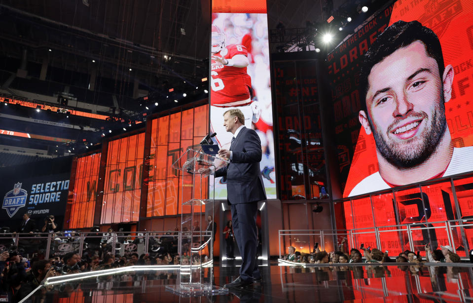 Commissioner Roger Goodell speaks at the podium after the Cleveland Browns selected Oklahoma's Baker Mayfield as their pick during the first round of the NFL football draft. (AP)