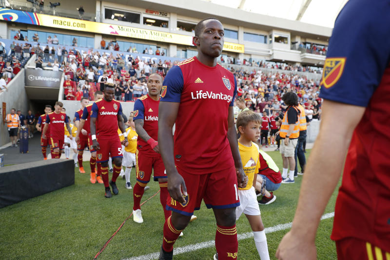 Jul 3, 2019; Sandy, UT, USA; Real Salt Lake defender Nedum Onuoha (14) walks on the field prior to their game against the Columbus Crew at Rio Tinto Stadium. Mandatory Credit: Jeff Swinger-USA TODAY Sports