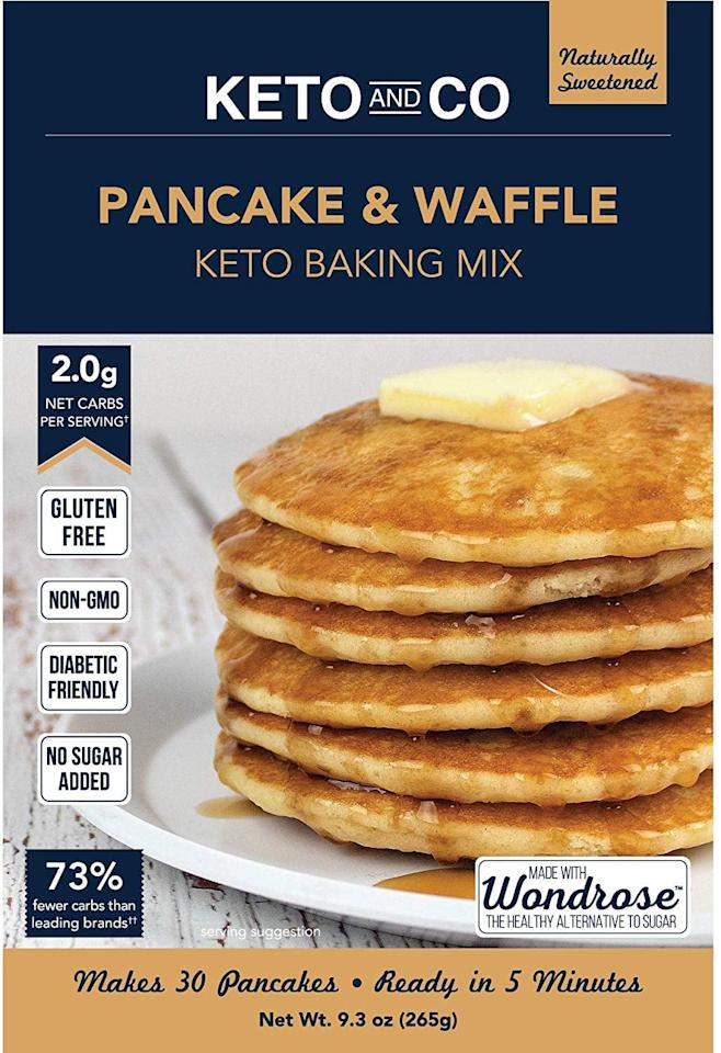 """<p>This <a href=""""https://www.popsugar.com/buy/Keto-Co-Pancake-Waffle-Mix-484281?p_name=Keto%20and%20Co%20Pancake%20and%20Waffle%20Mix&retailer=amazon.com&pid=484281&price=10&evar1=fit%3Aus&evar9=46543084&evar98=https%3A%2F%2Fwww.popsugar.com%2Fphoto-gallery%2F46543084%2Fimage%2F46543098%2FKeto-Co-Pancake-Waffle-Mix&list1=shopping%2Cbreakfast%2Cpancakes%2Cwaffles%2Chealthy%20breakfasts%2Cketo%20diet&prop13=api&pdata=1"""" rel=""""nofollow"""" data-shoppable-link=""""1"""" target=""""_blank"""" class=""""ga-track"""" data-ga-category=""""Related"""" data-ga-label=""""https://www.amazon.com/Keto-Co-Pancake-Waffle-Mix/dp/B07QZSFQ59/ref=sr_1_5?crid=3BSSDIBKGJL7G&amp;keywords=keto+pancake+mix&amp;qid=1566849129&amp;s=gateway&amp;sprefix=keto+pan%2Caps%2C193&amp;sr=8-5"""" data-ga-action=""""In-Line Links"""">Keto and Co Pancake and Waffle Mix</a> ($10) is ready in five minutes, so, yay!</p>"""