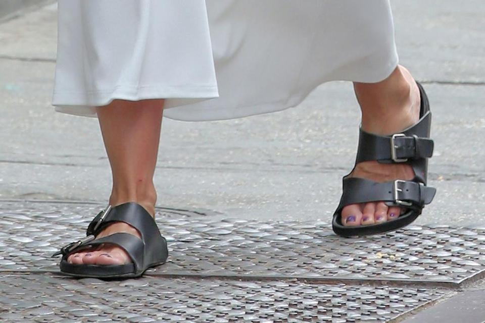 A closer view of Katie Holmes' sandals. - Credit: Christopher Peterson/Splash Newsv