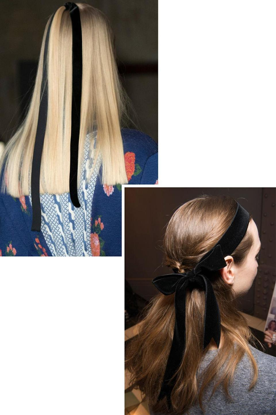 <p>The black ribbon trend seen at Tory Burch and Marchesa has gone international. At Emilia Wickstead, hair was pulled into a small half-up section and then secured with a black ribbon. At Temperley London, velvet hair bows complemented small black ribbons tied delicately around the neck.</p>