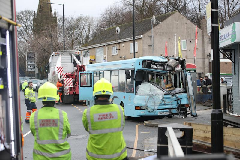 Damage: There were said to be 20 pupils on the bus when it crashed. (PA)