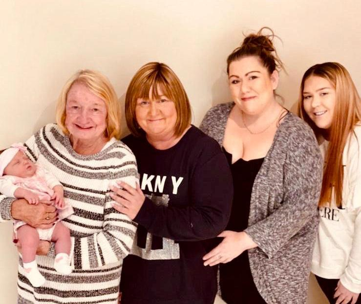Eloise with her relatives on her mum's side, left to right, Margaret Wright, 74, great great grandma, Carol Bellone, 53, great grandma, Klara Holland, 37, grandma, Sofia Holland, 18, mum. (SWNS)