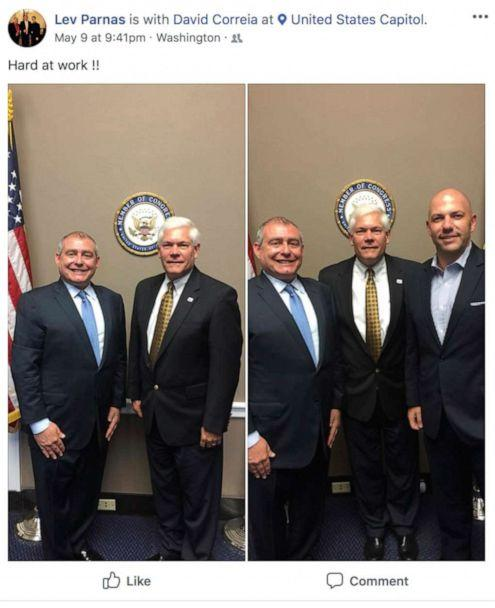 PHOTO: This Facebook screen shot provided by The Campaign Legal Center, shows from left, Lev Parnas with former Rep. Pete Sessions. In the right photo, Lev Parnas, former Rep. Pete Sessions, and David Correia, in Washington, D.C., posted on May 9, 2018. (The Campaign Legal Center via AP)