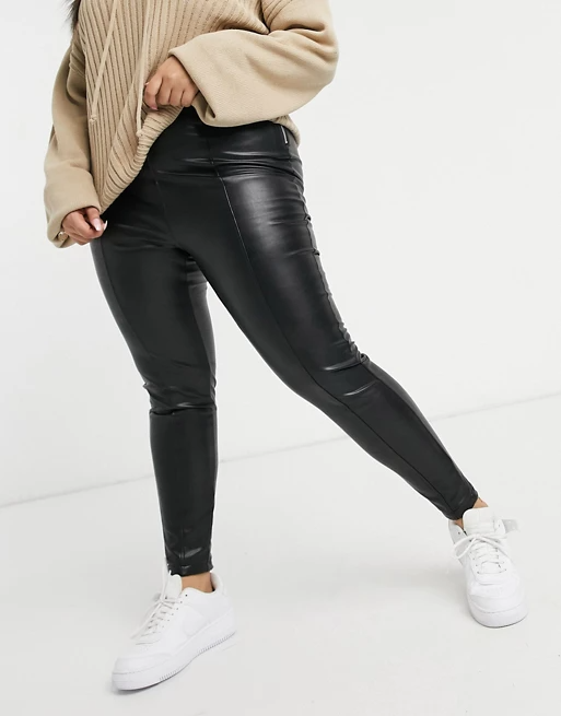 """<h3>Leather Leggings</h3><br>Whether you're looking to splurge on the real deal or are in the market for a lookalike PVC pair, the suggestion of leather is a powerful one for fall.<br><br><strong>New Look Curve</strong> Leather Look Leggings, $, available at <a href=""""https://go.skimresources.com/?id=30283X879131&url=https%3A%2F%2Fwww.asos.com%2Fus%2Fnew-look-plus%2Fnew-look-curve-leather-look-leggings-in-black%2Fprd%2F21988884"""" rel=""""nofollow noopener"""" target=""""_blank"""" data-ylk=""""slk:ASOS"""" class=""""link rapid-noclick-resp"""">ASOS</a>"""