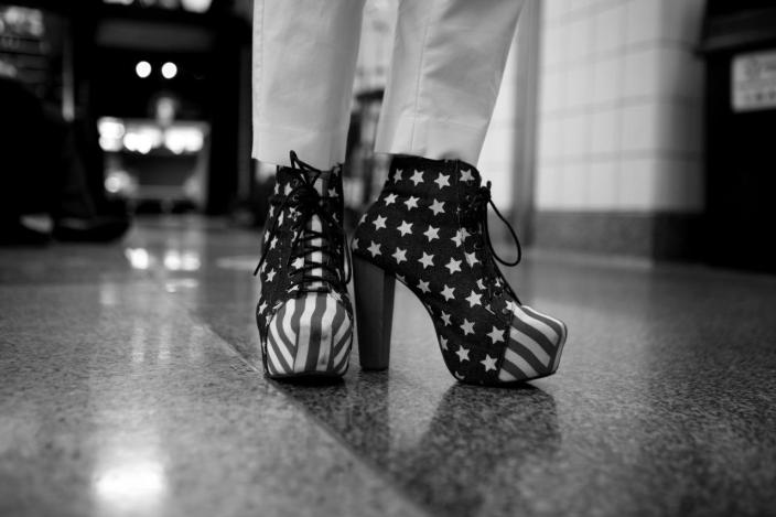 <p>Stars and Stripes footwear at the convention. (Photo: Khue Bui for Yahoo News)</p>