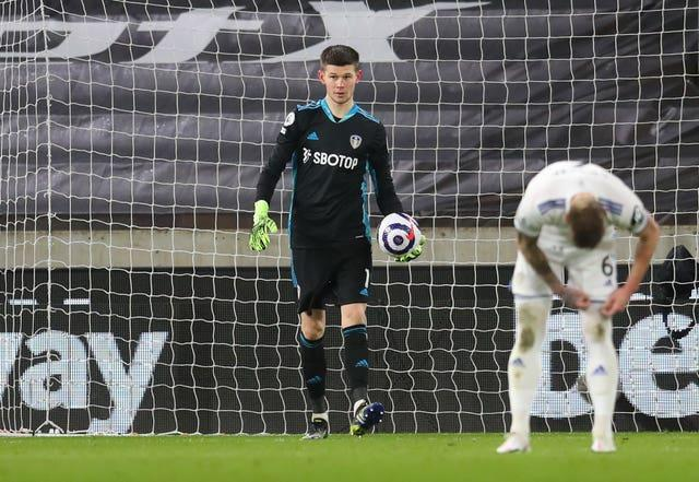 Illan Meslier picks the ball out of the net