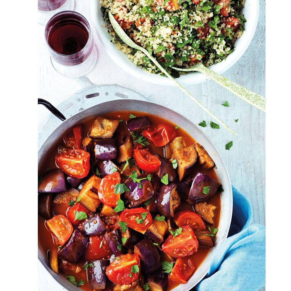 """<p>Full of fragrant spices, harissa is reminiscent of Moroccan cuisine and works wonderfully here in this simple stew</p><p><strong>Recipe: <a href=""""https://www.goodhousekeeping.com/uk/food/recipes/a556543/spicy-aubergine-stew/"""" rel=""""nofollow noopener"""" target=""""_blank"""" data-ylk=""""slk:Spicy aubergine stew"""" class=""""link rapid-noclick-resp"""">Spicy aubergine stew</a></strong></p>"""