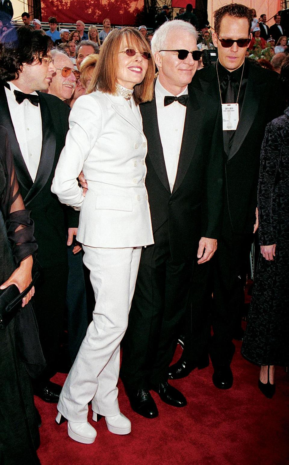 <p>The 'Father of the Bride' co-stars arrived together to the awards. Keaton was nominated for her role in 'Marvin's Room,' and Martin was a presenter. (Photo: Frank Trapper/Getty Images) </p>